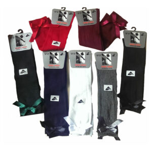 Kid's Knee High Junior Girls School Socks with Bow