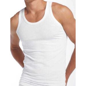 Men White Interlock Vest