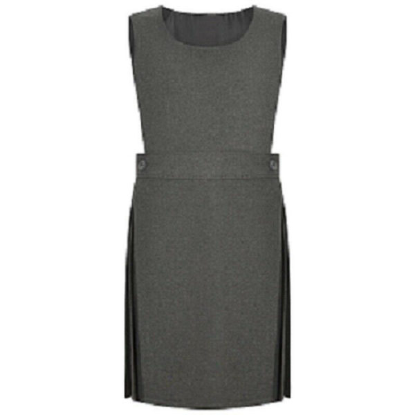 BIB PINAFORE SCHOOL UNIFORM DRESS,Grey