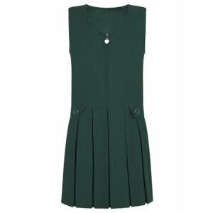 Girls Premium Quality Box Pleat Zip Front Pinafore School Uniform UK Made