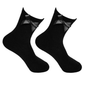 Girls Plain Cotton School Ankle Socks With Matching Bow