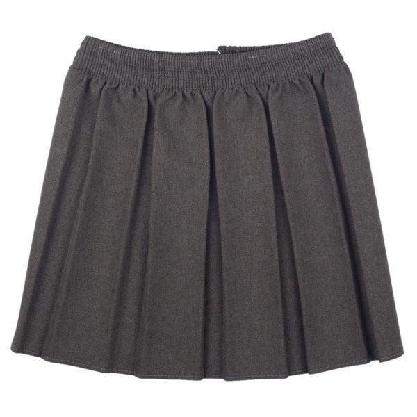 irls Premium Quality Box Pleat Elasticated Waist School Uniform Skirt in grey