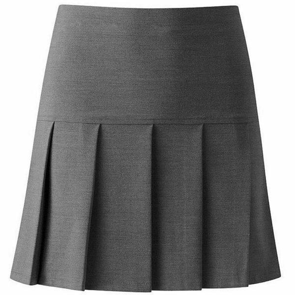Girls Quality All Round Half Drop Pleat School Uniform Skirt In Grey