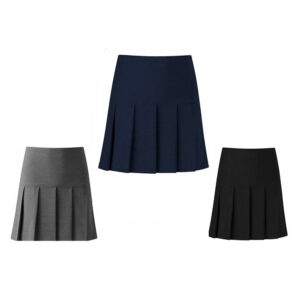 Made in UK Girls Kids 3 Side Pleat Half Elasticated Waist School Uniform Skirt