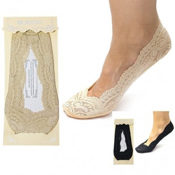 Ladies Girls Shoe Footie Invisible Thin Lace Liner Socks