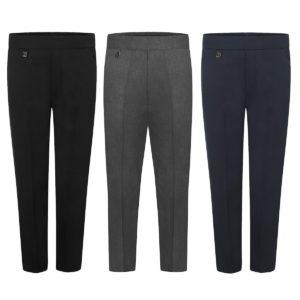 Boys Back Half Elastic Pull-Up School Uniform Trouser Teflon Coated (Made in UK)