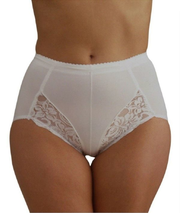 Women / Ladies Light Control Support Briefs Knickers with Lace Detail in white