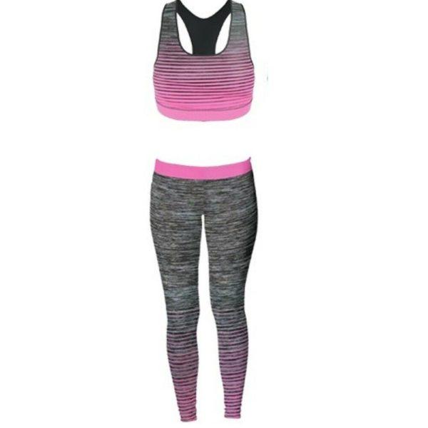 Ladies/Girls Vest & Legging Gym Wear Set Fitness Wear in pink