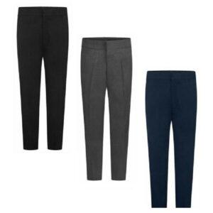 Boys Half Elastic Back Pull-Up School Trouser With Zip & Clip Teflon-C (UK Made)