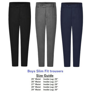 Boys Premium Quality Slim Fit School Uniform Trousers Black Navy Grey (UK Made)