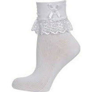 Pairs Girls Frilly Lace Ankle School Socks