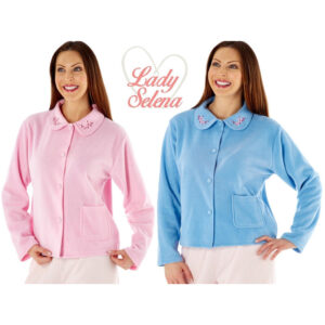 Lady Selena Soft Fleece Warm Bed Jacket With Traditional Front Button