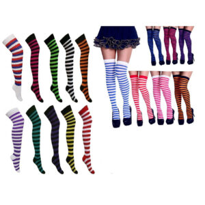 1/3/6 X Pairs Ladies / Women Striped Over The Knee Socks Fancy Dress Size 4-7