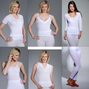Women Cotton Underwear Short Long Sleeve Tops Vest & Long John