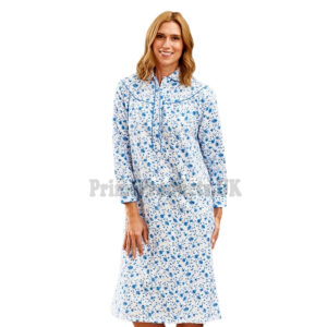 Ladies Blue Sea Brushed 100% Cotton Nightdress
