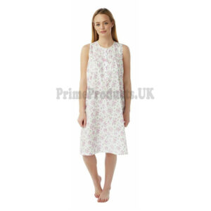 Ladies Marlon Floral Print Poly Cotton Sleeveless Nightdress