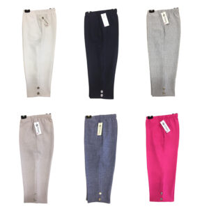 Ladies 4 Button Crop Half Elastic Waist Pull On Short Trouser