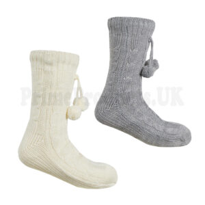 Ladies Knitted Chunky Lounge Slipper Cosy Socks