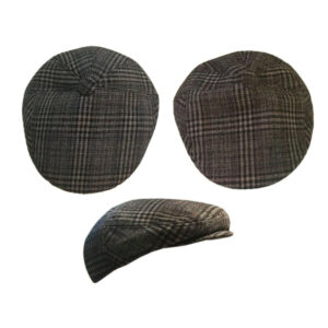Men's Check Mixed Wool Flat Cap Hat