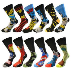 Men's Official Batman & Marvel Character Novelty Socks