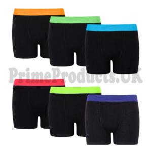 Kids Boys Neon Cotton Black Plain Boxer Shorts