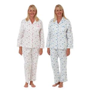 Ladies Marlon Floral Print 100% Brushed Cotton Pyjamas